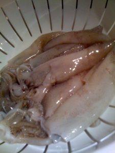 """Wash calamari. Take off the eyes and """"teeth"""" and Drain"""